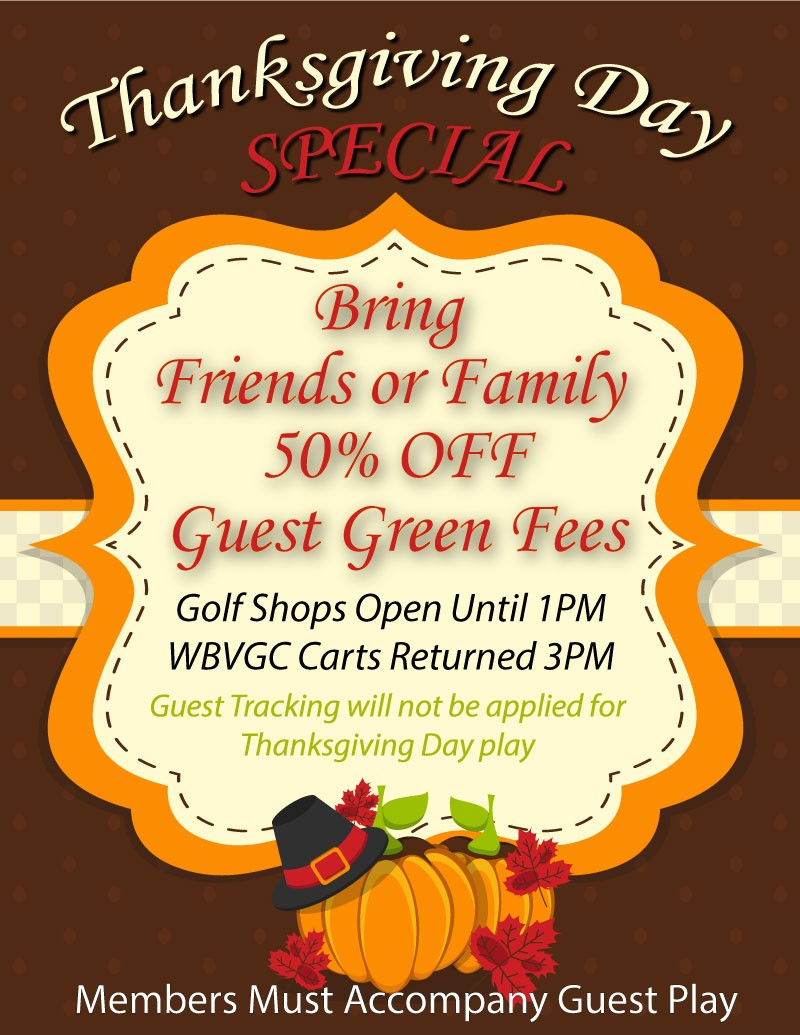 Thanksgiving Day Guest Special - Shops Close at 1PM